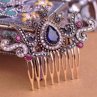 Wholesale New Arrival Vintage Flower Crown Hairwear Hair Combs Hair Clips Hairpins Headdress Classic Turkish Jewelry AntiGold Women Bijoux