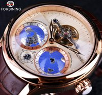 automatic earth - Forsining Earth Real Tourbillion Rose Gold Classic Multi dimensional Designer Watch Men Luxury Brand Automatic Watch Clock