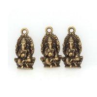 antiques thailand - 100Pcs Antique Bronze Religion Thailand Ganesha Buddha Charms Pendant x27mm