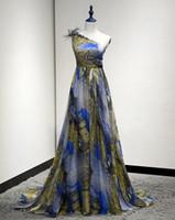 Cheap 2016 One Shoulder 3D flower Peacock Prom Dress High Floor Length Chiffon vestido de festa Formal Evening Gown