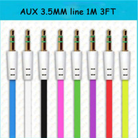 Wholesale Cheap and top quality mm M ft AUX Audio Cable cord for iphone ipod Mp3 Mp4 Samsung cellphone Mobile phone