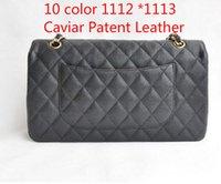 artificial stone covers - 1112 Bag Bag CM cm Lambskin Patent Leather Caviar women s Handbag Double Flap Bag artificial leather Shoulder Bags