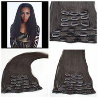 beauty hair clips - 7pcs Human hair clip in hair extension A brazilian coarse yaki clip ins human hair g hot beauty hair