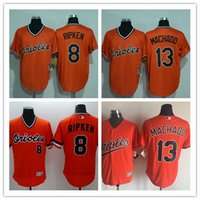 baltimore baseball player - Throwback Baltimore Orioles Cal Ripken Jr Manny Machado Orange Alternate Cool Base Cooperstown Collection Player Jersey Retro Shirts