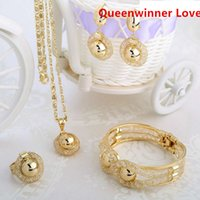 Wholesale QueenWinner Copper Bras High K Gold plated Jewelry Set With Crystal Necklace Earing Bracelete Ring For Wedding Gift Party Engagement QW