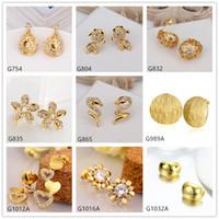 Wholesale Burst models pairs mixed style women s hollow snake goldfish crystal gemstone k yellow gold earring GTG65 yellow gold stud earrings