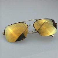 alloy shop online - Anti UV Square Half Frame Sunglasses for Men Antireflective UV400 CR Lens Alloy Mental Half Frame Fashion Mens Sunglasses Shop Online