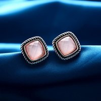 Wholesale 0069 Fashion Jewelry hot earring for women Golden Retro copper alloy Metal Pink Acrylic stones Clip on Screw k Stud Piece