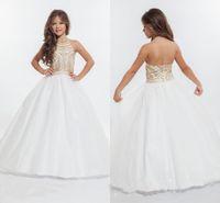 Wholesale 2016 RACHEL ALLAN Girls Pageant Dresses with Gold Rhinestone Halter Tulle Floor Length Ball Gown Flower Girls Dresses