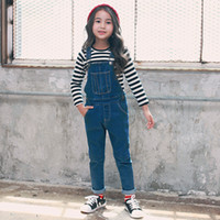 Wholesale 2016 New Autumn Toddler Little Big Kids Girls Overalls Jeans Casual Washed Denim Pencil Pants Unisex Loose Type Solid Color
