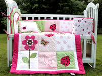 Wholesale Girl Baby bedding set D Embroidery Pink butterfly flower Ladybird Quilt Bumper Cushion Pillow Crib Bedding Set