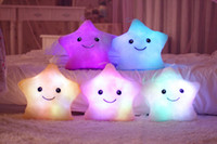 Cheap Cushions 100PCS HHA307 Cute Colorful Illuminated Star Shaped LED Cushion Emoji Throw Pillow Novelty Gifts Christmas Gift Light Buttons