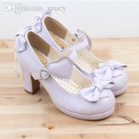 lolita shoes - The new high heeled cute bow tie sweet lolita girls love solid round princess shoes more softer