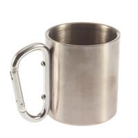 aluminium mug - 1pcs Steel Camping Cup Mug ml Traveling Carabiner Aluminium Hook Double Wall Stainless Dropshipping Newest