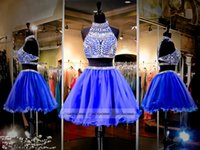 Wholesale Rachel Allan Royal Blue Silver Two Piece Short Homecoming Dress Halter Open Back Sparkly Crystal A line Short Party Dresses HY00898