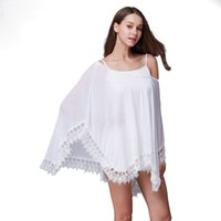 Wholesale The new beach bikini white lace blouse Women Girls T shirt