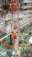 arrival stereos - New Arrival glass Bongs Double Stereo perc water bong Big Straight Clear Hookahs recycler oil rig