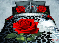 Wholesale Coverlet Red - Kind Size Bedding Sets 3D Red Rose Printed Polyester Cotton Six Pieces Home Bedding Supplies New Duvet Cover Coverlet And Pillowcases