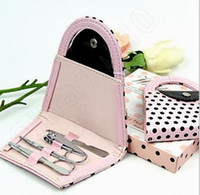 Wholesale 100Sets LLA80 Pink Polka Dot Purse Bag Clipper Pedicure Manicure Set Kit Tools Finger Nail Clippers Scissors Grooming Tools