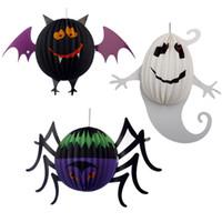 bat wings pattern - FREE DHL D LED Halloween Pumpkin Lights Lamp Paper Lantern Spiders Bats Ghost Pattern Decoration LED Battery Lamps for Kids