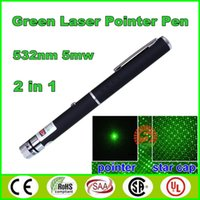Wholesale Hot in1 Star Cap Pattern Green Laser Pointers nm mw Star Head Laser pointer pen Kaleidoscope mw laser burning pen led lasers Light