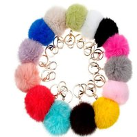 animals bag holders - 10pcs Sindyyang Gold CM Rabbit Fur Ball Keychain fluffy keychain fur pom pom llaveros portachiavi porte clef Key Ring Key Chain For Bag