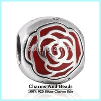 belle love - crown Belle Enchanted Rose Silver Charm ale sterling silver charms loose beads diy jewelry for thread bracelet DF524
