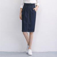 Falda popular de la calle de las mujeres de la falda de la falda del dril de algodón Faldas de la altura de la rodilla de la señora de Straight Jean de la falda de Jean Tamaño M-2XL XA0304