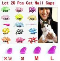 Wholesale Soft Cat Pet Nail Caps Claw Control Paws off Adhesive Glue Size XS S M L Colors Available