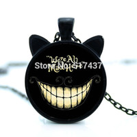 adventures of link - 2016 new necklace of Alice in wonderland adventure we are angry here Mr Cheshire Cat jewelry pendant glass dome necklace CN