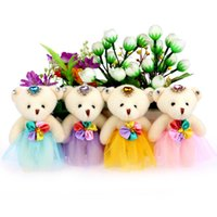 beaded baby dolls - HOT Candy plush toys doll kid children baby girl PP cotton lace dress teddy bear with beaded flower bouquets