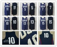 Wholesale 2016 Mens USA Basketball Jersey Player Cheap Basketball Jerseys USA Olympic Basketball Jersey Blue All Stitched