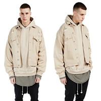 Wholesale KANYE WEST old Beige loose denim jackets for men Fashion Casual Khaki MEN denim Coats mens hip hop streetwear ripped military jackets