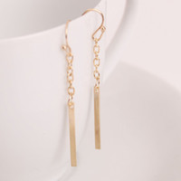 Wholesale Long Line Chain Earrings K Platinum Gold plated Fashion Drop Dangle Earring Jewelry Ear Cuff For Women Brincos