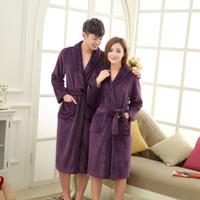 Wholesale Coral Fleece Luxury Flannel Bathrobe Men Long Kimono Robe Lovers Thick Sleepwear Roupao De Banho Peignoir Homme Albornoz Hombre