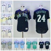 best halls - Best Quality Ken Griffey Jr Jersey Hall Of Fame Patch Seattle Mariners Baseball Jerseys White Grey Beige Green Cream Blue Pullober