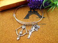 arrow diameter - 12pcs Fashion Hot sale diameter mm bracelets bangles silver bangle the walking dead with rose gun bow and arrow