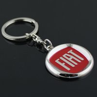 Wholesale 5pcs Emblem Car logo Keychain for Fiat Zinc Alloy Car Logo Keyring Key chain Ring Key Holder