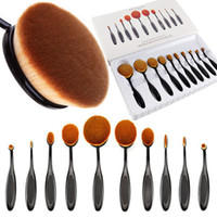 bb designs - 10pcs set Oval Tooth brush Design Foundation Makeup Brush Set Multifunction Powder Blusher Face BB Cream Puff Make Up Brushes Beauty Tools