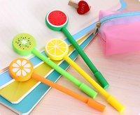 Wholesale School supplies candy color neutral pen lovely fruit lollipops neutral pen creative needle tube pen black mm