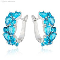 aquamarine stud earrings white gold - Aquamarine Women Fashion Hoop Earrings KT White Gold Filled Zircon Earring pendiente Luxury Design High Quality New Ear0055 AB