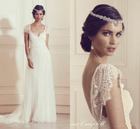 Wholesale Sexy V Back French Eyelash Lace Wedding Dresses Appliques Sweep Train Beach Bridal Gown Long Simple Boho Wedding Bridal Gowns Elegant
