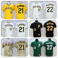 Wholesale Mens Flexbase Version Roberto Clemente Andrew McCutchen Jersey Color Gray Yellow Green White Camo Throwback Jerseys