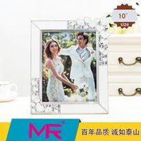 acrylic photo stands - 10 inch photo frame rectangle EU classic style acrylic eco friendly material with diamante edged picture frame can be standing home decor