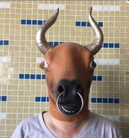 Wholesale Wholesale10pcs Feral OX Gold Horn Bull Latex Head Mask Halloween Cosplay Animal Costume Tricky Prop Cattle Mask