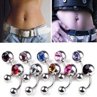 alexandrite diamond - Fashion Women Belly Button Rings Stainless Steel Body Piercing Multi Colors Mixed Diamond Ball Navel Nail DQH007