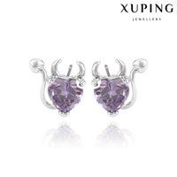 animal ear shapes - Violet Heart Shape Zirconia Stud Earrings Little Devil Halloween Party Accessory Jewelry Xuping Hot Sell Copper Ear Knot With Rhodium Plated