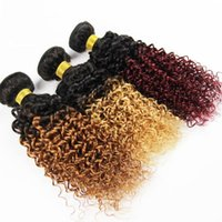 Wholesale 3 ombre kinky curly hair brazilian peruvian braillian cambodian indian curly virgin hair fast delivery two tone brazilian weave hair