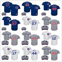 al por mayor addison russell-Cubs de Chicago Kyle Schwarber Kris Bryant Addison Russell Jake Arrieta Anthony Rizzo con los remiendos de la serie 2016 mundiales cosió las camisetas de béisbol