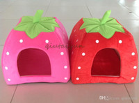 Wholesale 2015 Free EMS Soft Sponge Strawberry Pet Dog Cat Bed Houses Lovery Warm Doggy Kennel SIze Colors H465